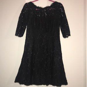 Black Lace 3/4 sleeve Eliza J dress Nordstrom sz 8